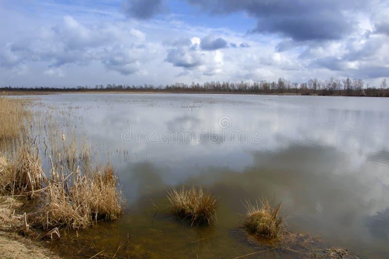 Vårlandskap med sikter av sjön och den molniga himlen arkivfoton