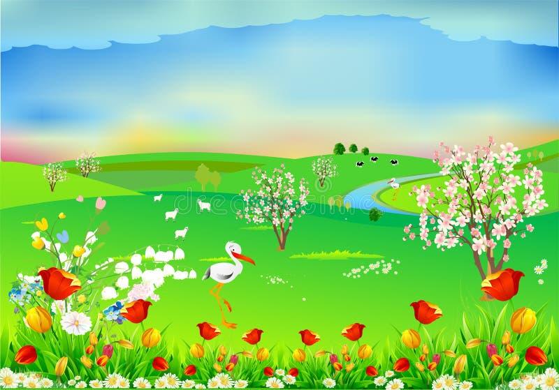Vårlandskap med storkar, vektor illustrationer