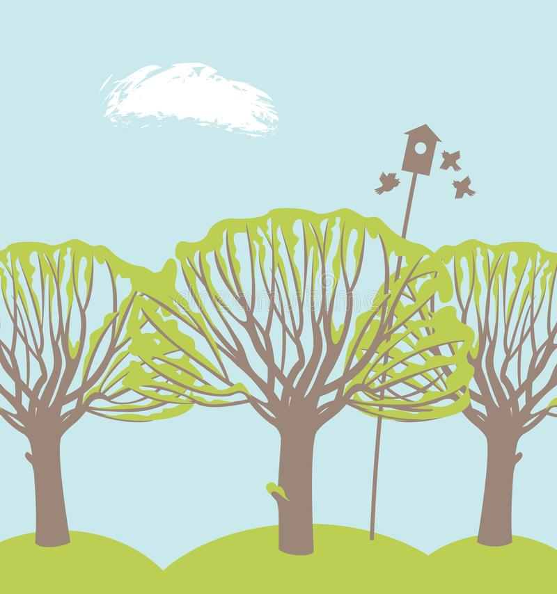 Vårlandskap med träd, fåglar och voljären stock illustrationer