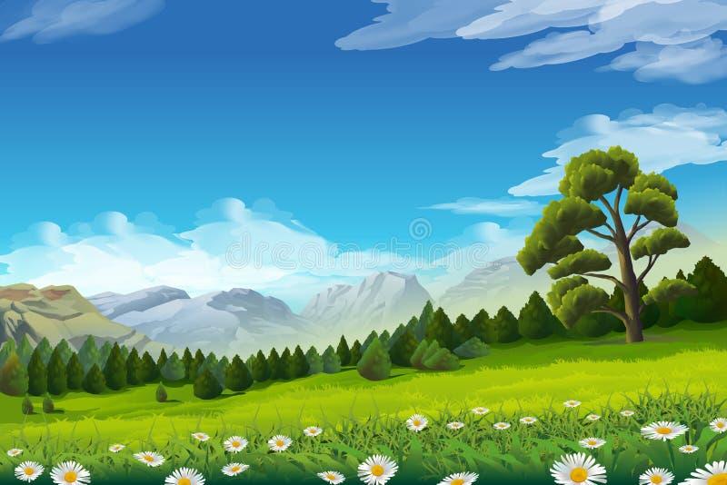 Vårlandskapbakgrund stock illustrationer
