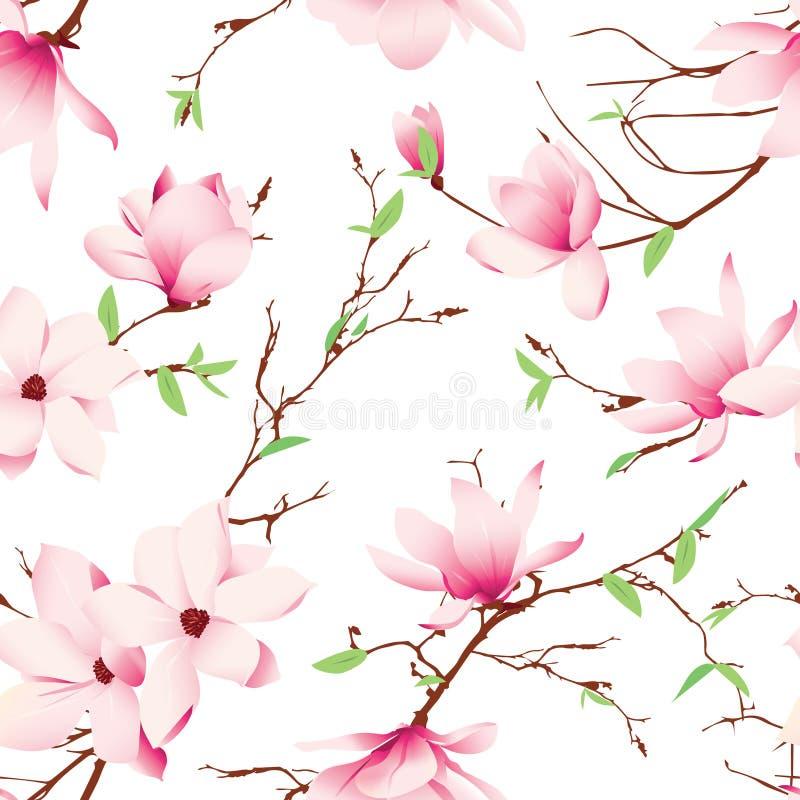 Vårmagnolian blommar den sömlösa vektormodellen vektor illustrationer
