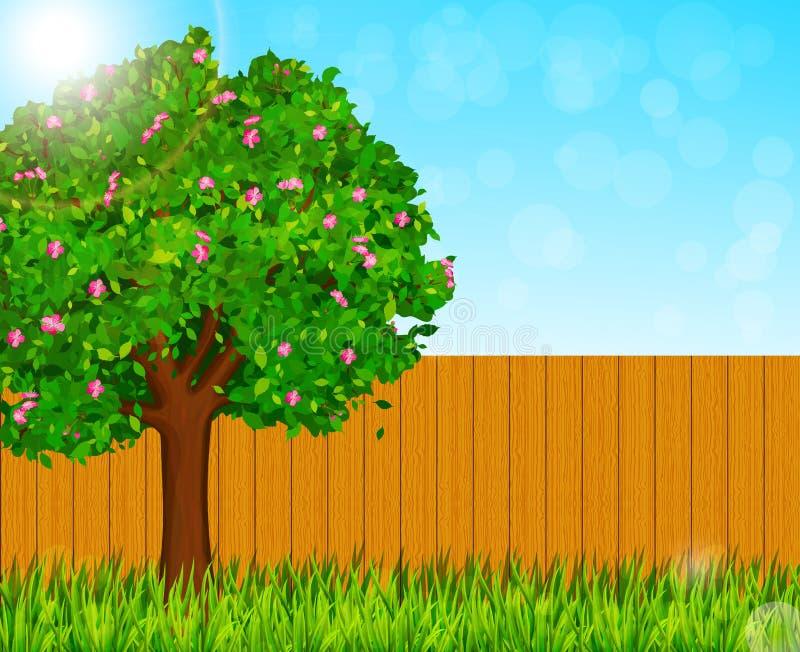 Vårnaturbakgrund med trädet för grönt gräs och blomma också vektor för coreldrawillustration royaltyfri illustrationer
