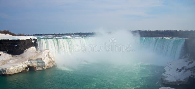 Vårpanoramautsikt av de berömda Niagara Falls hästskonedgångarna royaltyfri foto