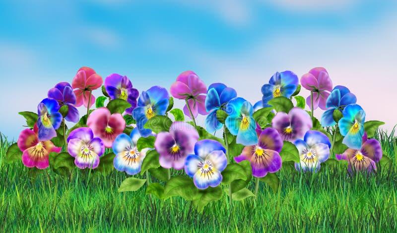 Vårplatsaffisch, landskap royaltyfri illustrationer