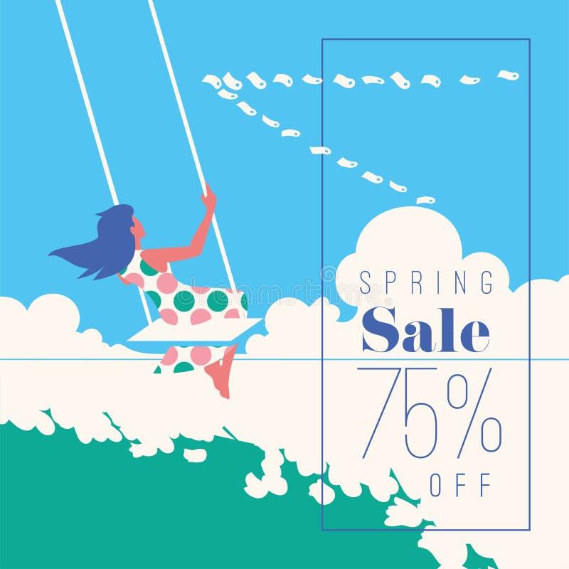 VårSale baner, Sale affisch, Sale reklamblad 75 av, vektorillustration vektor illustrationer