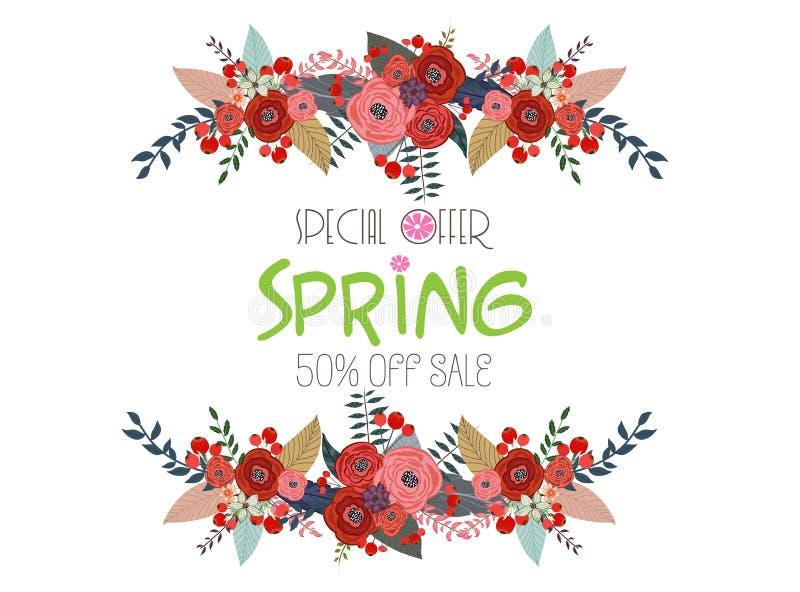 VårSale baner, Sale affisch, Sale reklamblad, Sale vektor 50% av vektor illustrationer