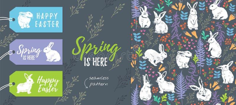 Vårsamling Uppsättning av påsketiketter och den sömlösa modellen royaltyfri illustrationer