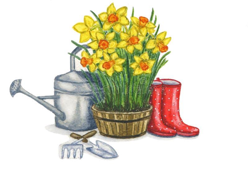 Vårsammansättning som illustrerar de arbeta i trädgården arbetena stock illustrationer