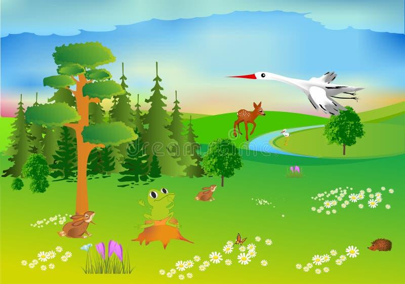 Vårskog och djur vektor illustrationer