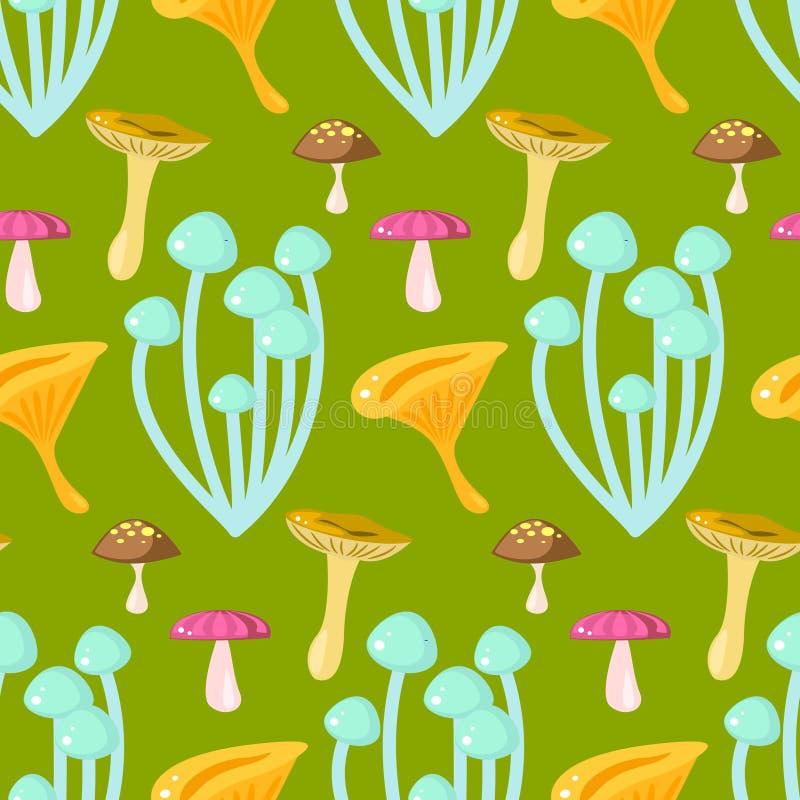Vårskogkantarell och doppingchampinjon royaltyfri illustrationer
