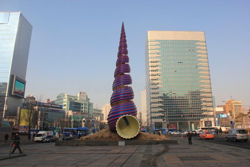 Vårskulptur i Seoul, Sydkorea royaltyfria bilder