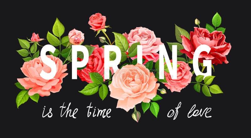 Vårslogan med blommor vektor illustrationer