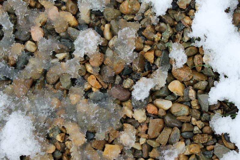 Vårsnö på vaggar snömodeller som textureras arkivbilder