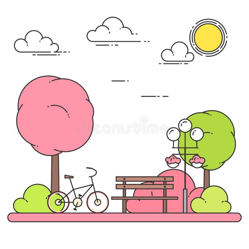 Vårstadslandskap med bänken, cykel i Central Park också vektor för coreldrawillustration Linje konst vektor illustrationer