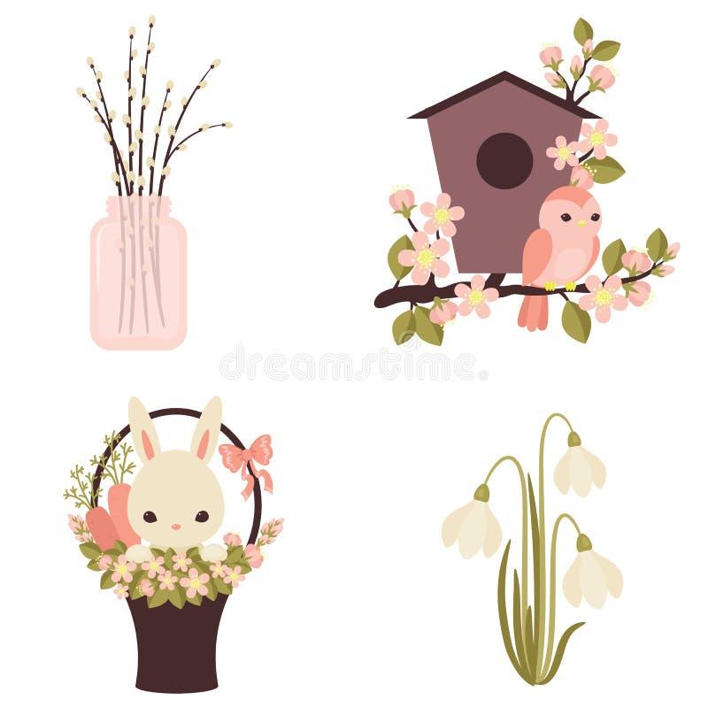 Vårsymboler Blommor och djur Fyra vektorillustrationer ep royaltyfri illustrationer