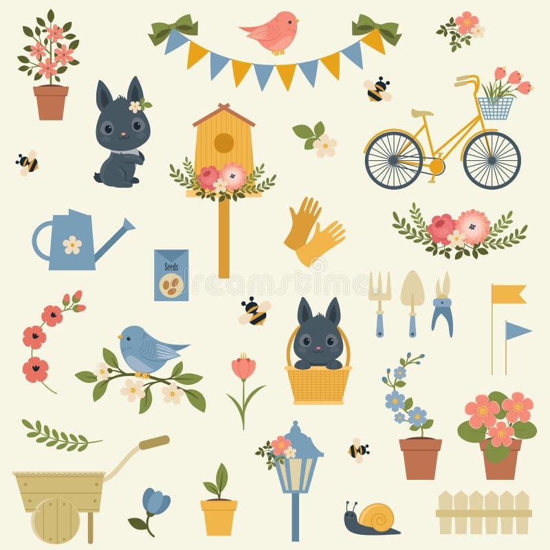 Vårsymbolssamling stock illustrationer