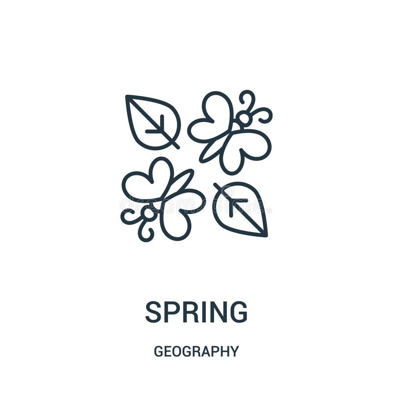 vårsymbolsvektor från geografisamling Tunn linje illustration för vektor för våröversiktssymbol vektor illustrationer