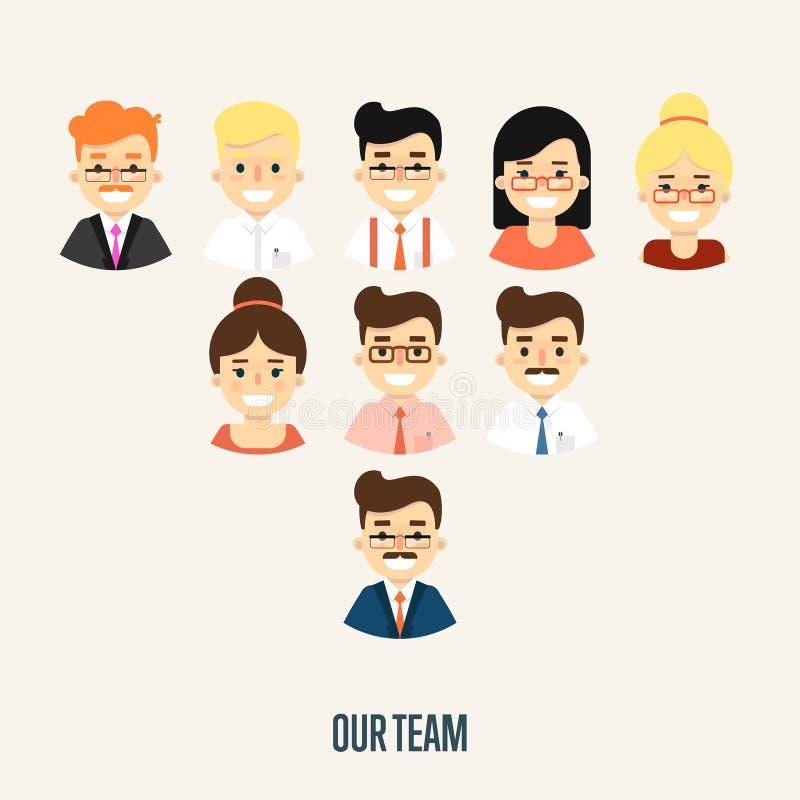 Vårt lagbaner med tecknad filmtecken royaltyfri illustrationer
