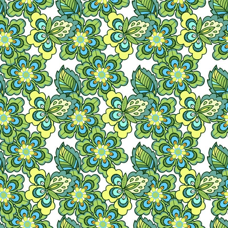 Vårtappning blommar den sömlösa modellen Dekorativ prydnadbakgrund för tyg, textil, inpackningspapper royaltyfri illustrationer