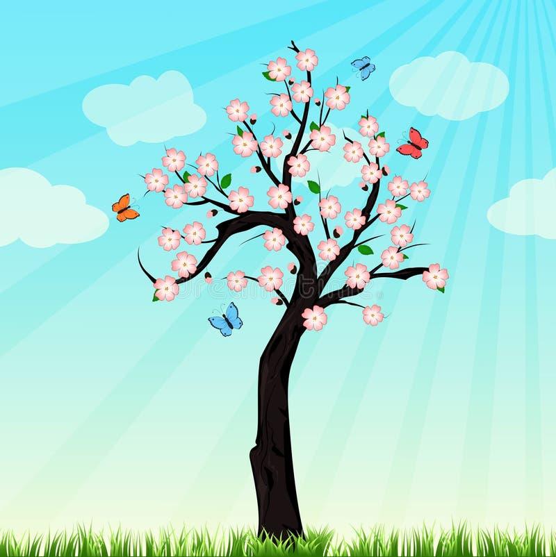 Vårträd i blomning stock illustrationer