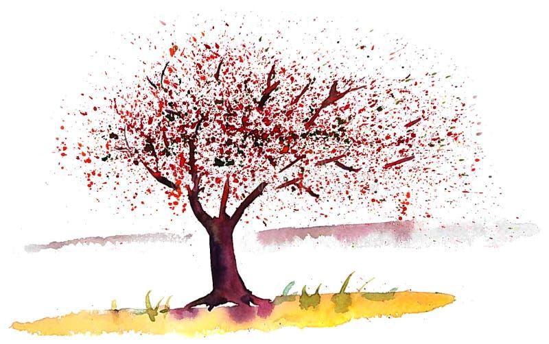 V?rtr?d och blommor som flyger i vinden vektor illustrationer