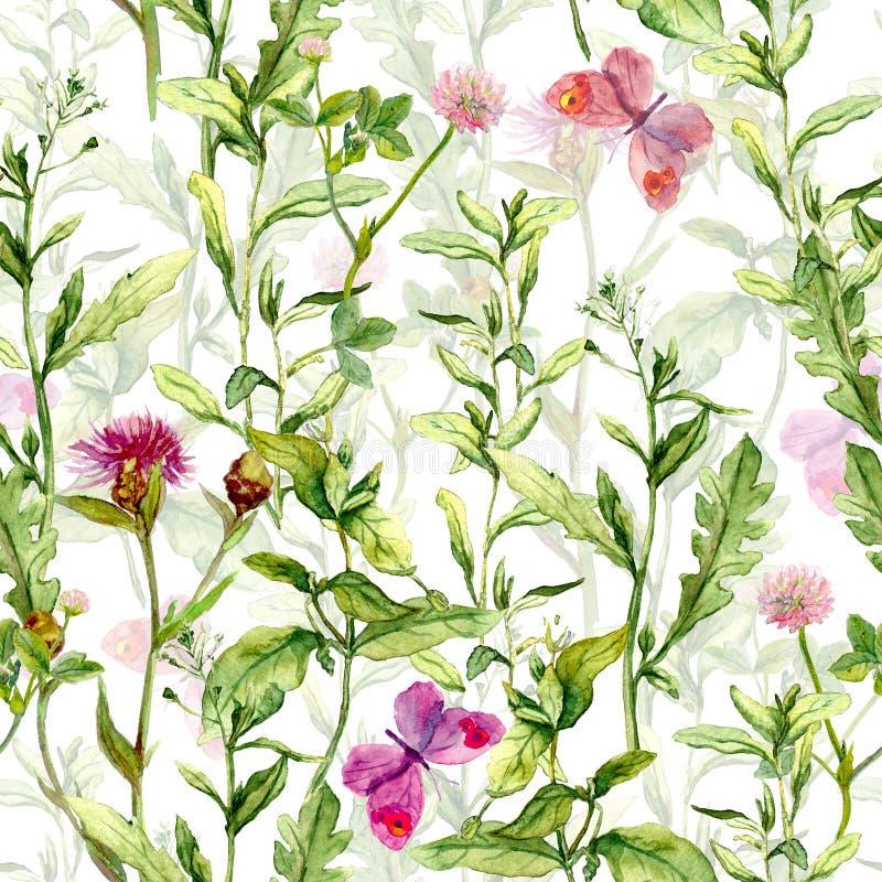 Vårträdgård: gräs blommor, fjärilar Tappningvattenfärg seamless modell stock illustrationer