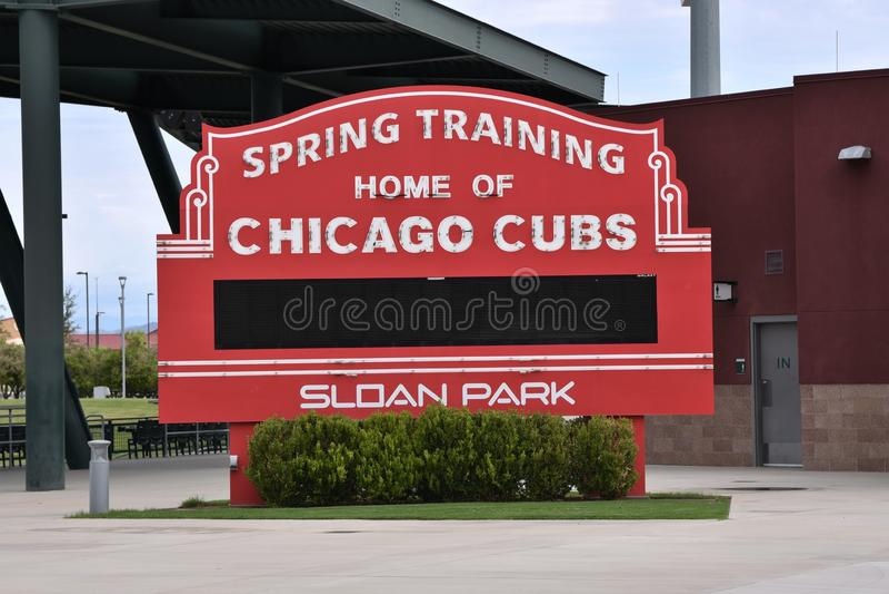 Vårträningtecken av Chicago Cubs arkivbild