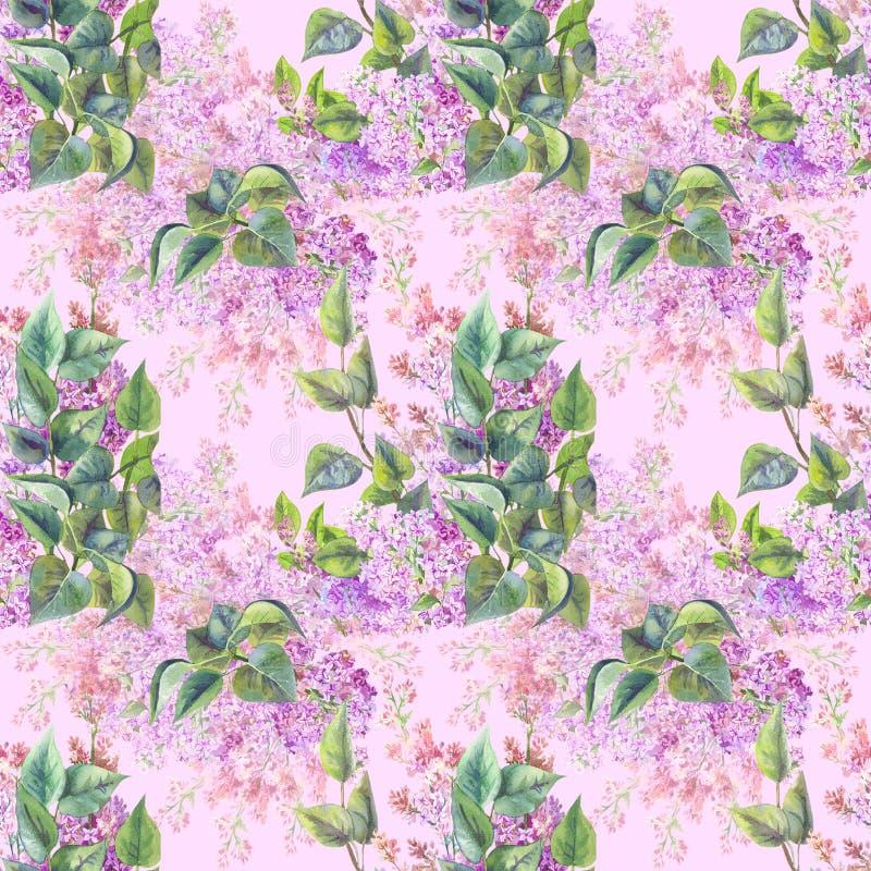 Vårtryck för tyg Sömlös modell med den lila vattenfärgen stock illustrationer