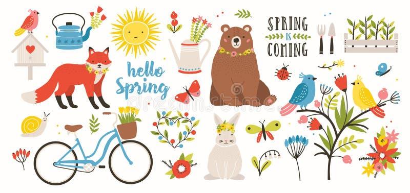 Våruppsättning Samlingen av gulliga djur, fåglar och kryp och att blomma blommor och blom- garneringar, cyklar isolerat på royaltyfri illustrationer
