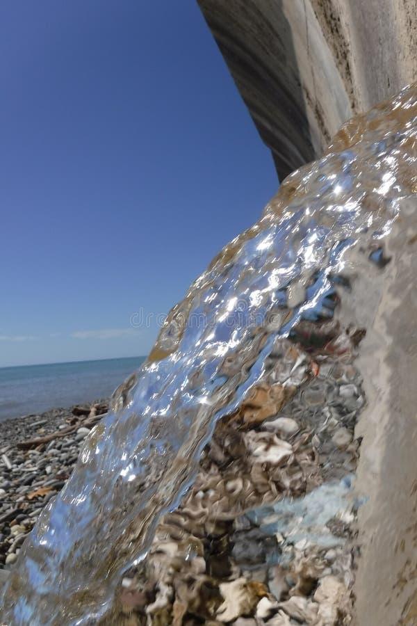 Vårvatten från tunnelen av den förstärkta väggen på Blacket Sea royaltyfri foto