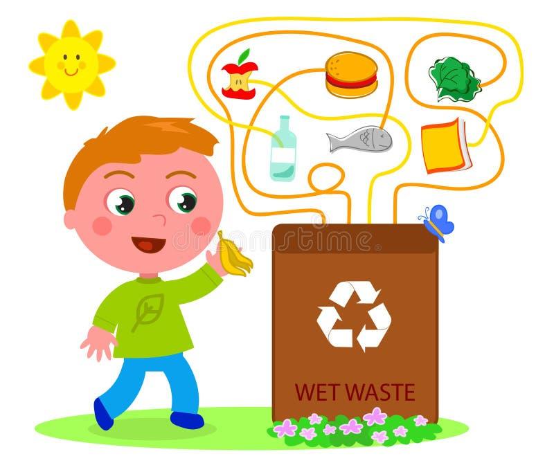 Våt förlorad återvinninglek stock illustrationer