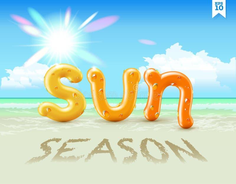 Våt gul och orange glansig vektorstilsort som märker SOLsäsong med sötvattendroppar på den som hänger över att stråla sommarsolen stock illustrationer