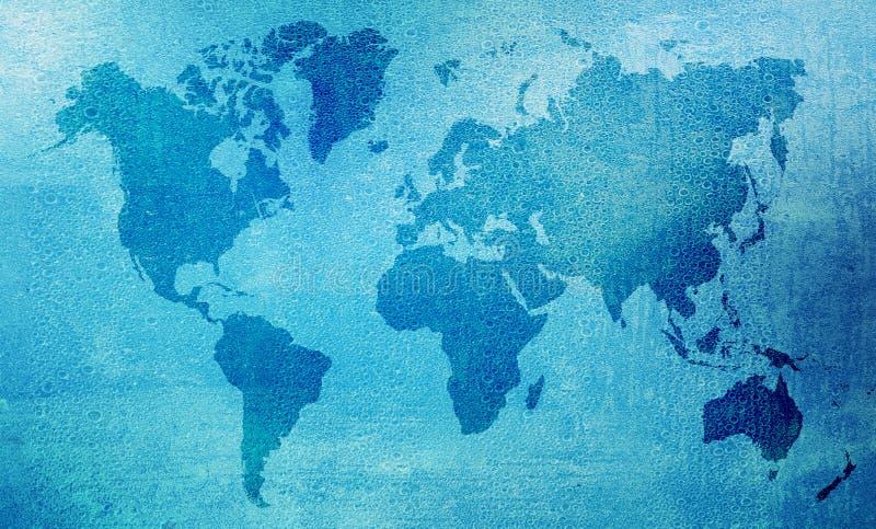 Våt världskarta royaltyfria bilder