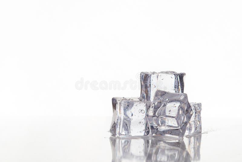 Våta fyrkantiga iskuber royaltyfria bilder