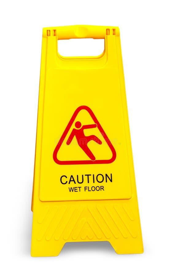 Vått golvtecken för varning som isoleras på vit arkivbilder
