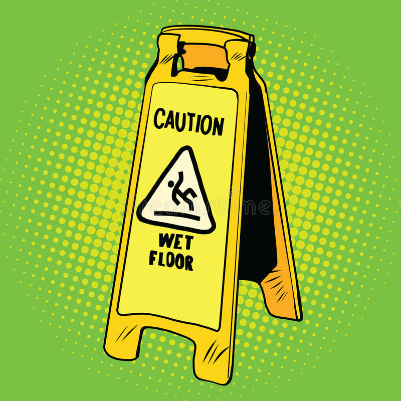 vått varningsgolvtecken royaltyfri illustrationer
