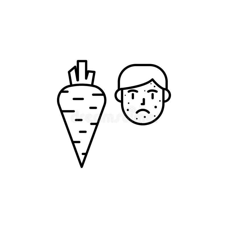 Végétarien, carotte, icône allergique de visage Élément des problèmes avec l'icône d'allergies Ligne mince icône pour la concepti illustration de vecteur