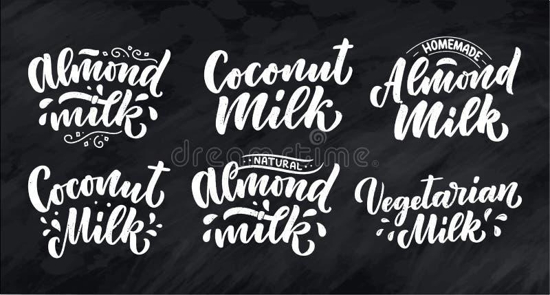Végétarien, noix de coco, citations de lettrage de lait d'amande pour la conception de bannière, de logo et d'emballage Nourritur illustration de vecteur