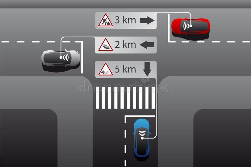 Véhicule à la communication de véhicule illustration de vecteur