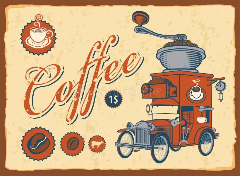 véhicule avec la rectifieuse de café illustration de vecteur
