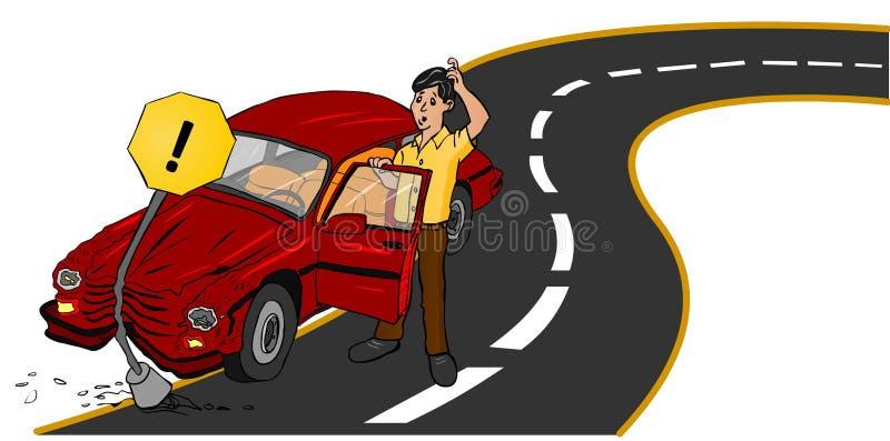 Véhicule d'accidents sur la route illustration libre de droits