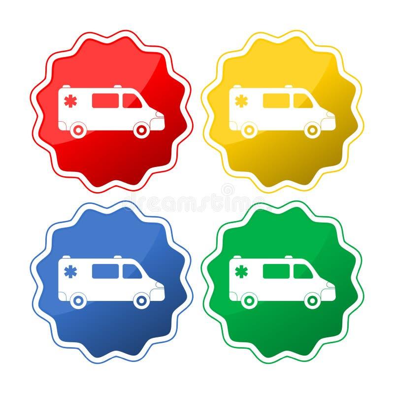 Véhicule d'ambulance Ensemble des icônes de voiture illustration de vecteur