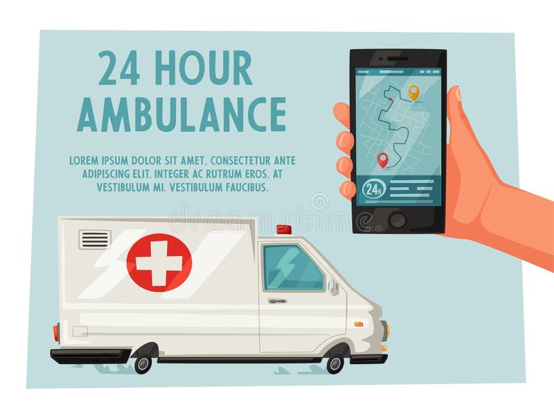 Véhicule d'ambulance Illustration de vecteur de dessin animé illustration stock