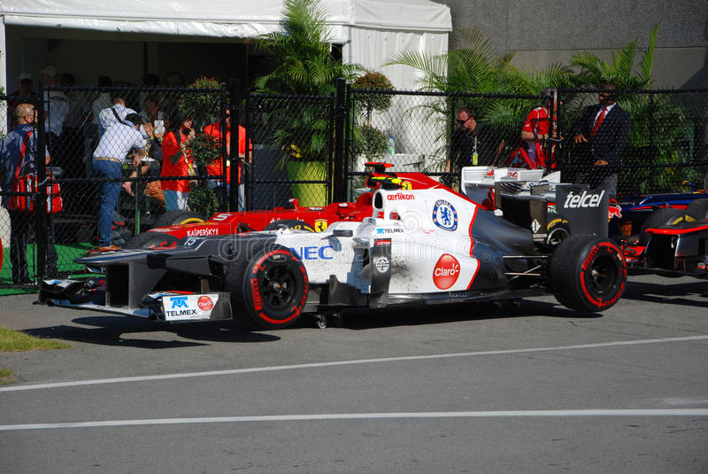 Véhicule d'emballage de Sauber dans 2012 F1 Prix grand canadien photographie stock libre de droits
