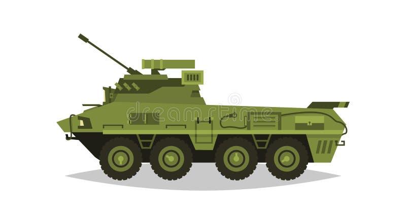 Véhicule d'infanterie blindée Exploration, inspection, examen optique, armure, protection, arme à feu, munitions Équipement pour  illustration de vecteur