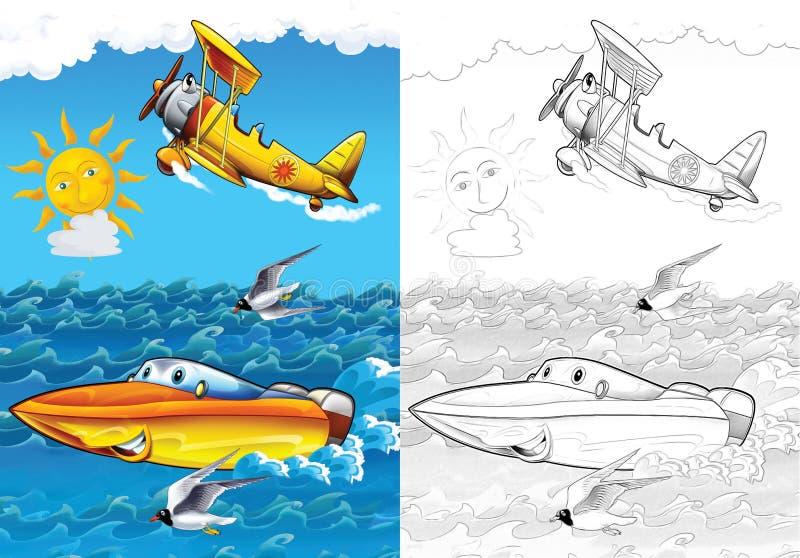 Véhicule de bande dessinée - page de coloration avec la prévision illustration de vecteur
