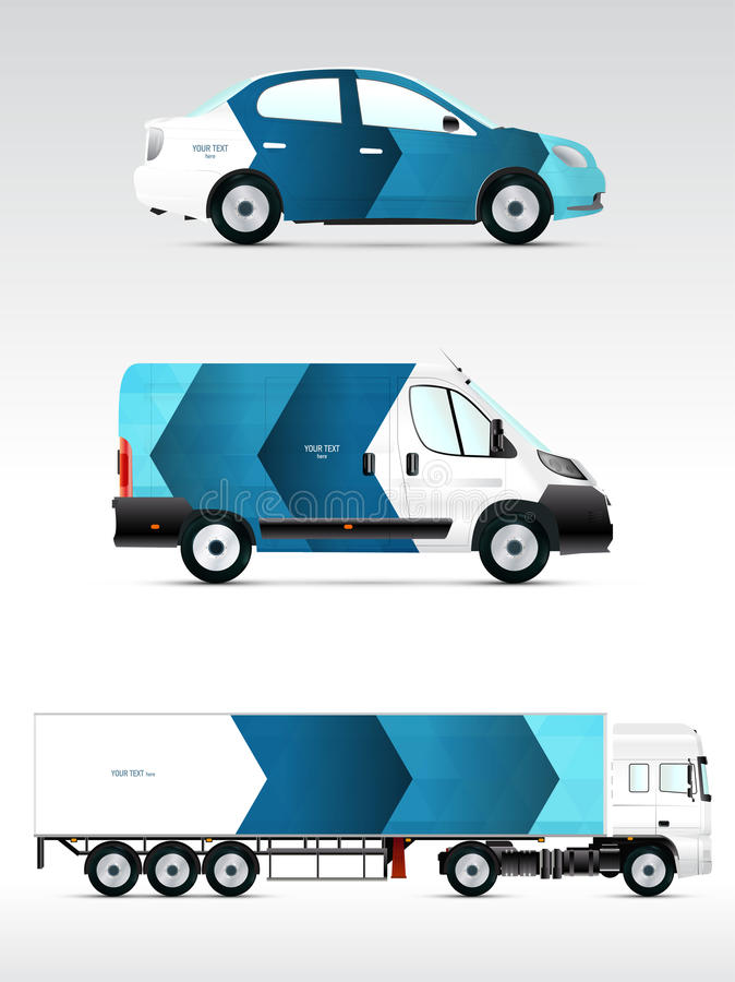 Véhicule de calibre pour faire de la publicité, stigmatiser ou identité d'entreprise Voiture de tourisme, camion, autobus illustration de vecteur
