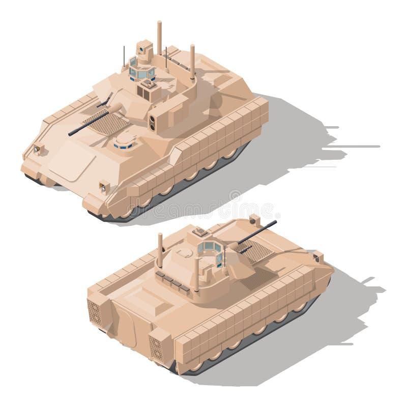 Véhicule de combat d'infanterie avec la protection dynamique et l'ensemble isométrique antichar d'icône de système de missile gui illustration stock