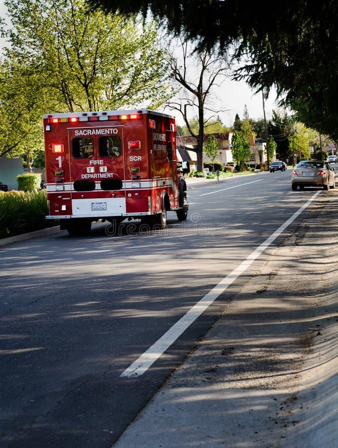 Véhicule de secours des corps de sapeurs-pompiers de Sacramento photographie stock libre de droits