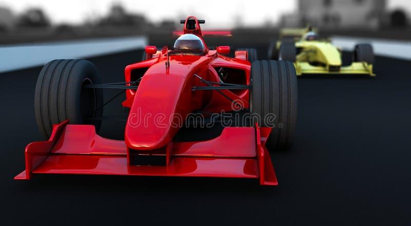 Véhicule de sport de la formule 1 rouge et jaune illustration stock